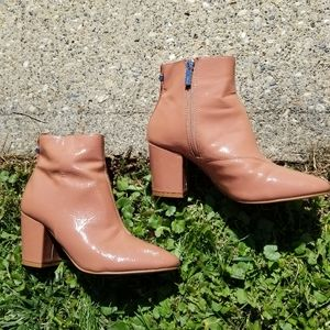 Topshop Nude Pink Patent Leather Ankle Boots